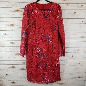 Elie Tahari Starla Floral Sheath Dress Sz 14
